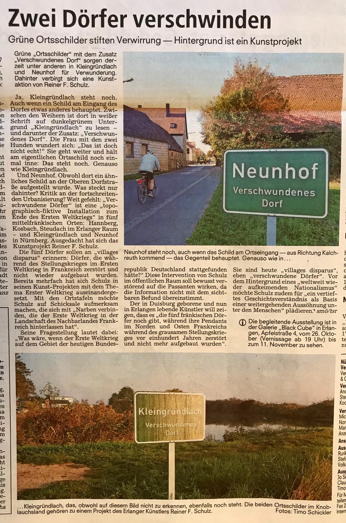 Verschwundene Dörfer, Reiner F. Schulz, Nürnberger Nachrichten vom 12.10.2018